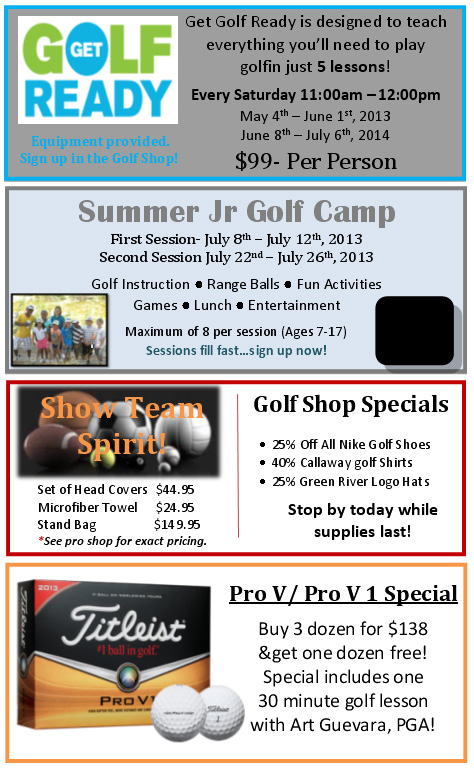Green River Golf Club Spring 2013 Specials