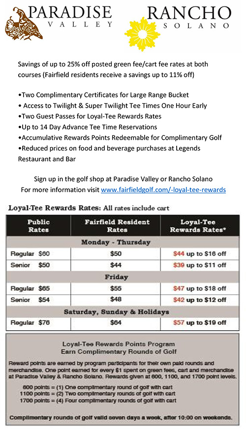 Loyal-Tee Deals Rancho Solano and Paradise Valley Golf Course